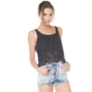 Brandy Melville scalloped black cut out tank